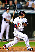 Sept. 15, 2010; Cleveland, OH, USA; Cleveland Indians right fielder Shin-Soo Choo (17) hits a single during the fourth inning  against the Los Angeles Angels at Progressive Field. Mandatory Credit: Jason Miller-US PRESSWIRE