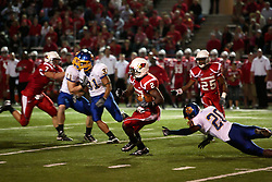 26 September 2009: E.J. Jones heads for the left sideline while returning a kickoff in a game which the South Dakota State Jackrabitts jump past the Illinois State Redbirds 38 - 17 at Hancock Stadium on campus of Illinois State University in Normal Illinois