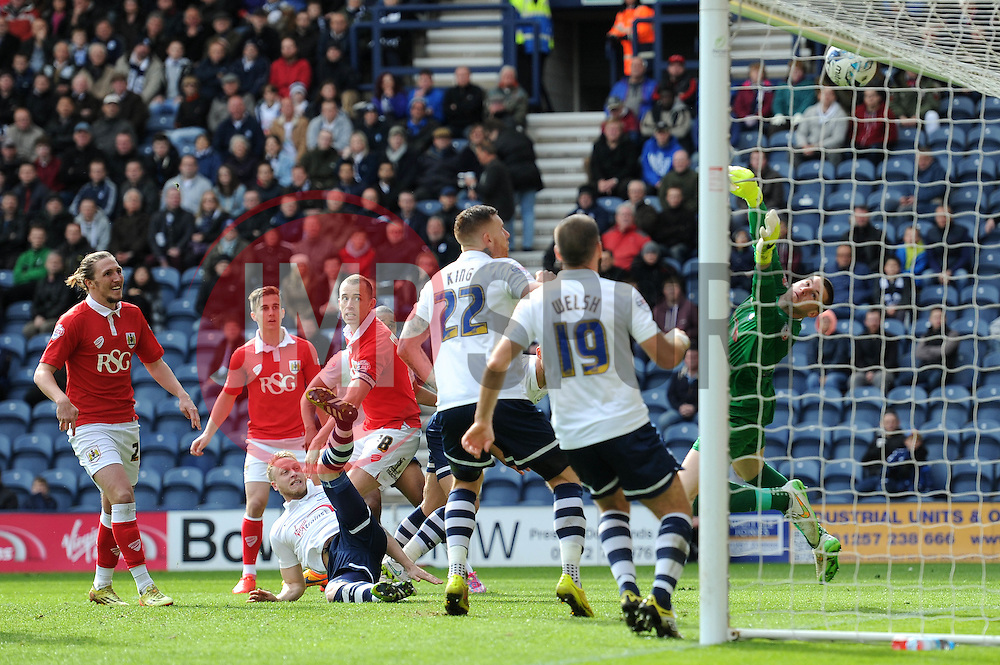 Bristol City's Aaron Wilbraham hits the crossbar from a header - Photo mandatory by-line: Dougie Allward/JMP - Mobile: 07966 386802 - 11/04/2015 - SPORT - Football - Preston - Deepdale - Preston North End v Bristol City - Sky Bet League One