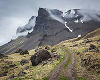 On route Svalvogavegur in Arnarfjörður, Mount Tóarfjall in background. West fiords of Iceland.