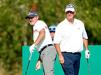 Golf - 2019 Senior Open Championship at Royal Lytham & St Annes - First Round <br /> <br /> Jerry Kelly (USA) watches his drive on the 2nd hole as Sandy Lyle (SCO) looks on.<br /> <br /> COLORSPORT/ALAN MARTIN