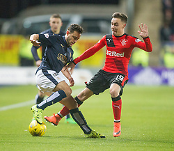 Falkirk's Tom Taiwo and Rangers McKay. <br /> Falkirk 3 v 2 Rangers, Scottish Championship game player at The Falkirk Stadium, 18/3/2016.