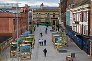 A view of Station Street taken from the tramway in Nottingham, Nottinghamshire, United Kingdom. The city centre was pedestrianised to make the air cleaner and make more people use public transport.  (photo by Andrew Aitchison / In pictures via Getty Images)