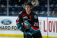 KELOWNA, CANADA - OCTOBER 5: Liam Kindree #26 of the Kelowna Rockets warms up against the Victoria Royals  on October 5, 2018 at Prospera Place in Kelowna, British Columbia, Canada.  (Photo by Marissa Baecker/Shoot the Breeze)  *** Local Caption ***