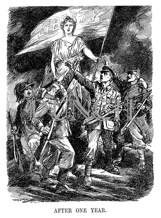 After One Year. (allied soldiers from Italy, Russia, Great Britain and France hail Liberty and her flag during WW1)