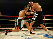 Picture by Alan Stanford/Focus Images Ltd +44 7915 056117<br /> 16/11/2013<br /> Eubank Jr. and Frankie Borg ( black shorts) during their middleweight bout at Glow Bluewater, Greenhithe.