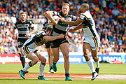 Hull FC prop Liam Watts (10) is tackled during the Challenge Cup 2017 semi final match between Hull RFC and Leeds Rhinos at the Keepmoat Stadium, Doncaster, England on 29 July 2017. Photo by Simon Davies.