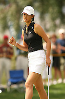 March 27, 2005; Rancho Mirage, CA, USA;  15 year old amateur Michelle Wie  makes a fist as she sinks her birdie putt on the 11th hole during the final round of the LPGA Kraft Nabisco golf tournament held at Mission Hills Country Club.  Wie shot a 1 under par 71 for the day and an even par 288 for the tournament and finished tied for 14th and won the award for low amateur.<br />Mandatory Credit: Photo by Darrell Miho <br />&copy; Copyright Darrell Miho