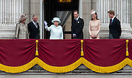 National News and Pictures.Date: 05/06/12.PH:  Will Oliver.Pictured: The Queen and members of the Royal Family take to the balcony at Buckingham Palace: l/r Duchess of Cornwall, Prince Charles the Prince of Wales, Queen Elizabeth II, Duke of Cambridge Prince William, Duchess of Cambridge and Prince Harry .Caption: The Queen and members of the Royal Family take to the balcony at Buckingham Palace at wave to members of the public at the end of four days celebrating the Queens Diamond Jubilee