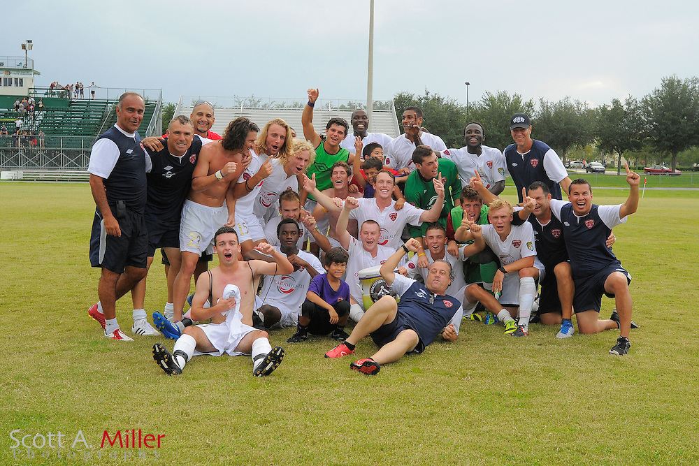 Orlando City U23 celebrate their 4-2 win over the Austin Aztex in PDL Southern Conference Championships final at Trinity Catholic High Schooll on July 22, 2012 in Ocala, Florida. ..©2012 Scott A. Miller