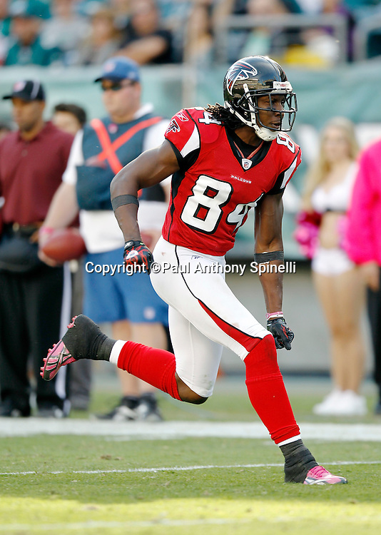 Atlanta Falcons wide receiver Roddy White (84) goes out for a pass during the NFL week 6 football game against the Philadelphia Eagles on Sunday, October 17, 2010 in Philadelphia, Pennsylvania. The Eagles won the game 31-17. (©Paul Anthony Spinelli)