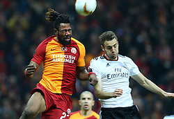 February 14, 2019 - Istanbul, Turkey - Galatasaray's Christian Luyindama (L) fights for the ball during the UEFA Europa League round of 32 first leg football match between Galatasaray AS and SL Benfica at the Turk Telekom stadium, in Istanbul, on February 14, 2019. (Credit Image: © Mahmut Burak Burkuk/Depo Photos via ZUMA Wire)