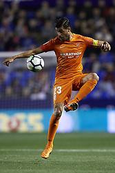 April 19, 2018 - Valencia, Valencia, Spain - Miguel Torres of Malaga CF controls the ball during the La Liga game between Levante UD and Malaga CF at Ciutat de Valencia on April 19, 2018 in Valencia, Spain  (Credit Image: © David Aliaga/NurPhoto via ZUMA Press)