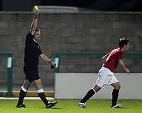 Photo: Paul Thomas.<br />Manchester United v Stockport County. Manchester Senior Cup. 01/11/2007.<br /><br />Gary Neville (R) of Man Utd is booked by referee Mr Ryan Johnson.