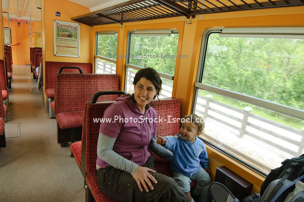 Zillertal, Tyrol, Austria, Steam hauled tourist train on the narrow gauge Zillertalbahn Car interior