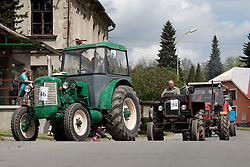 CZECH REPUBLIC VYSOCINA NEDVEZI 9MAY15 - Drive through the village during tractor festival 'Traktoriada' in Nedvezi, Vysocina, Czech Republic. Turnout was surprisingly large with over 100 tractors and hundreds of spectators to this event, held for the second time.<br /> <br /> jre/Photo by Jiri Rezac<br /> <br /> © Jiri Rezac 2015