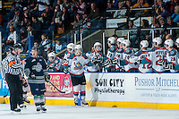 KELOWNA, CANADA - APRIL 3: Ryan Olsen #27 of the Kelowna Rockets celebrates a goal against the Seattle Thunderbirds on April 3, 2014 during Game 1 of the second round of WHL Playoffs at Prospera Place in Kelowna, British Columbia, Canada.   (Photo by Marissa Baecker/Getty Images)  *** Local Caption *** Ryan Olsen;