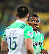 Highlanders' Waisake Naholo talks to Ben Smith during the Round 14 Super Rugby match, Hurricanes v Highlanders at Westpac Stadium, Wellington. 27th May 2016. Copyright Photo.: Grant Down / www.photosport.nz