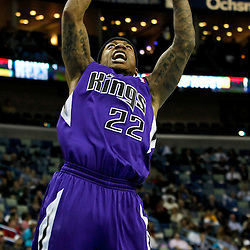 February 6, 2012; New Orleans, LA, USA; Sacramento Kings point guard Isaiah Thomas (22) dunks against the New Orleans Hornets during the second half of a game at the New Orleans Arena. The Kings defeated the Hornets 100-92.  Mandatory Credit: Derick E. Hingle-US PRESSWIRE