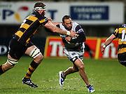 Auckland's Jamie Helleur fends Craig Clarke.<br /> Air New Zealand Cup rugby match - Taranaki v Auckland at Yarrows Stadium, New Plymouth, New Zealand. Friday 9 October 2009. Photo: Dave Lintott/PHOTOSPORT