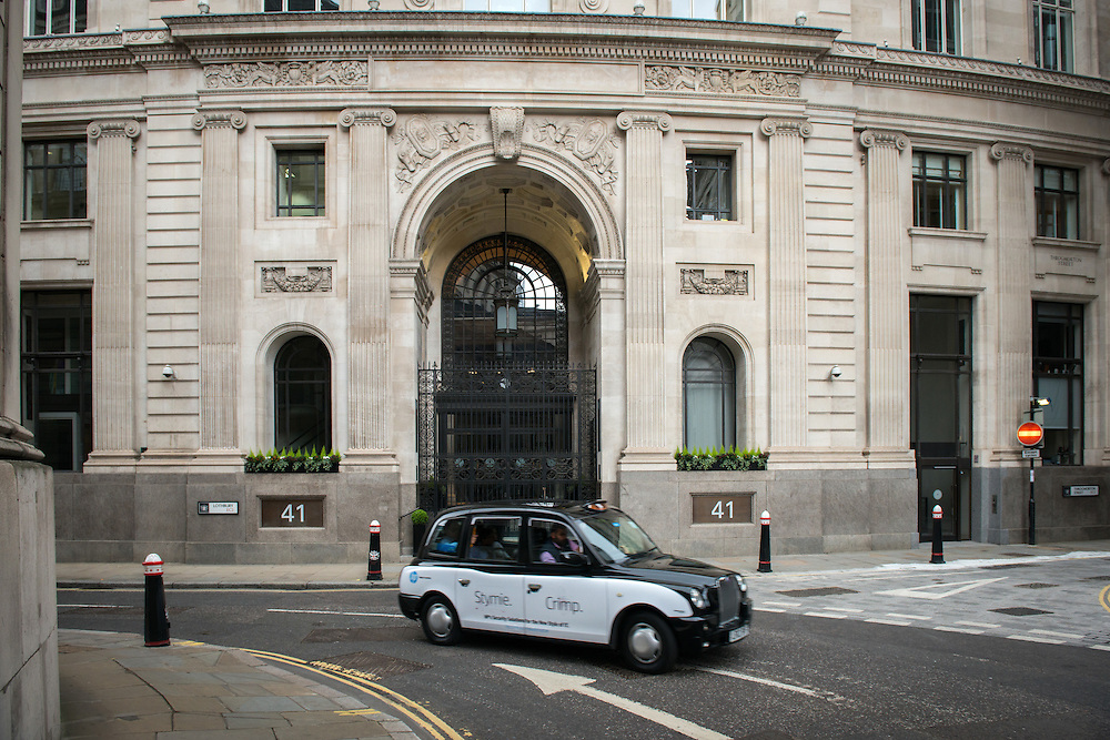 Amundi London Branch, one of the world's leaders in asset management on Lothbury Road, London, Britain.