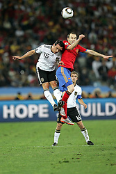 07.07.2010, Moses Mabhida Stadium, Durban, SOUTH AFRICA, Deutschland ( GER ) vs Spanien ( ESP ) im Bild Piotr Trochowski of Germany and Andres Iniesta of Spain  .Foto ©  nph /  Kokenge / SPORTIDA PHOTO AGENCY