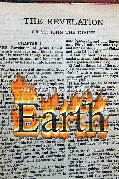 A conceptual image of Armageddon with the word Earth in flames overlaid on the Bible's Book  of Revelation.
