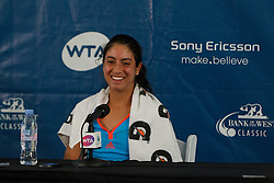 July 25, 2011; Stanford, CA, USA; Christina McHale (USA) answers questions from the media after her match against Mijana Lucic (CRO), not pictured, during the Bank of the West Classic women's tennis tournament at the Taube Family Tennis Stadium. McHale defeated Lucic 6-1, 6-0.