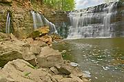 Twenty Mile Creek plunges over Ball's Falls.  Golden Horseshoe. Niagara Peninsula.<br />Ball's Falls Conservation Area<br />Ontario<br />Canada