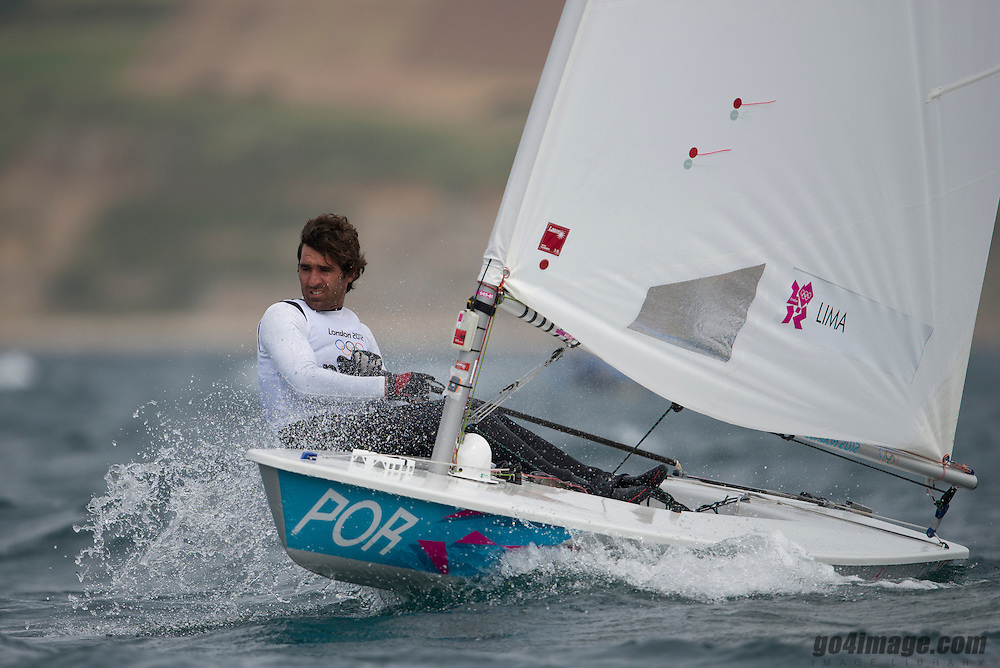2012 Olympic Games London / Weymouth<br /> Racing day 1 Laser<br /> LaserPORLima Gustavo