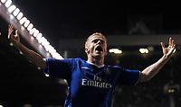 Damien Duff Chelsea celebrates scoring 2nd goal <br />Manchester United V Chelsea 26/01/05<br />The Carling Cup Semi Final 2nd leg<br />Photo Robin Parker Fotosports International
