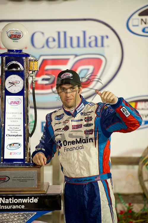 NEWTON, IA - July 04, 2012: Elliot Sadler (2) wins the U.S. Cellular 250 race at Iowa Speedway in Newton, IA.