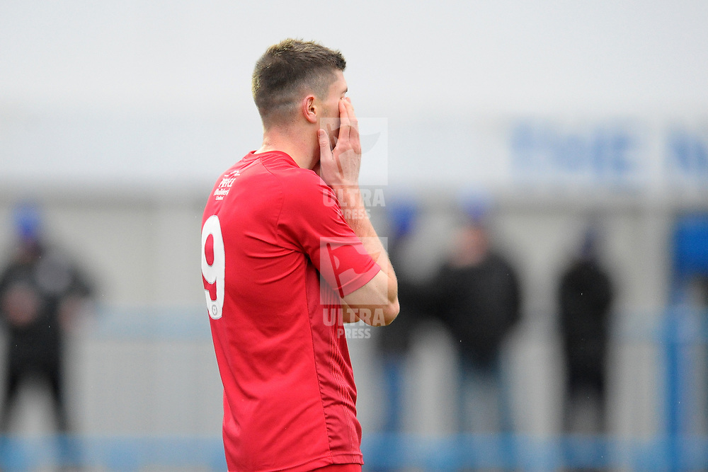 TELFORD COPYRIGHT MIKE SHERIDAN Matt Stenson of Telford (on loan from Solihull Moors) reacts with disappointment after missing a chance during the Vanarama National League Conference North fixture between Curzon Asthon and AFC Telford United on Saturday, November 9, 2019.<br /> <br /> Picture credit: Mike Sheridan/Ultrapress<br /> <br /> MS201920-028
