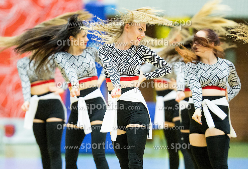 Cheerleaders perform during basketball match between KK Tajfun and KK Union Olimpija Ljubljana in 9th Round of ABA League 2015/16, on November 8, 2015 in Arena Golovec, Celje, Slovenia. Photo by Vid Ponikvar / Sportida