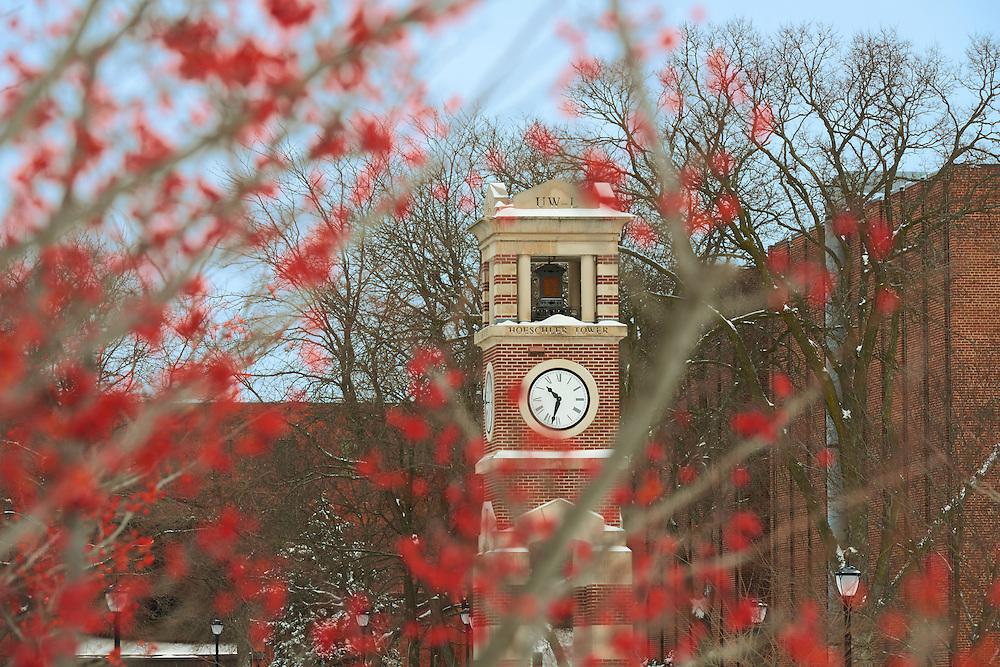 -UWL UW-L UW-La Crosse University of Wisconsin-La Crosse; Clock Hoeschler Tower; day; December; Outside; snowy