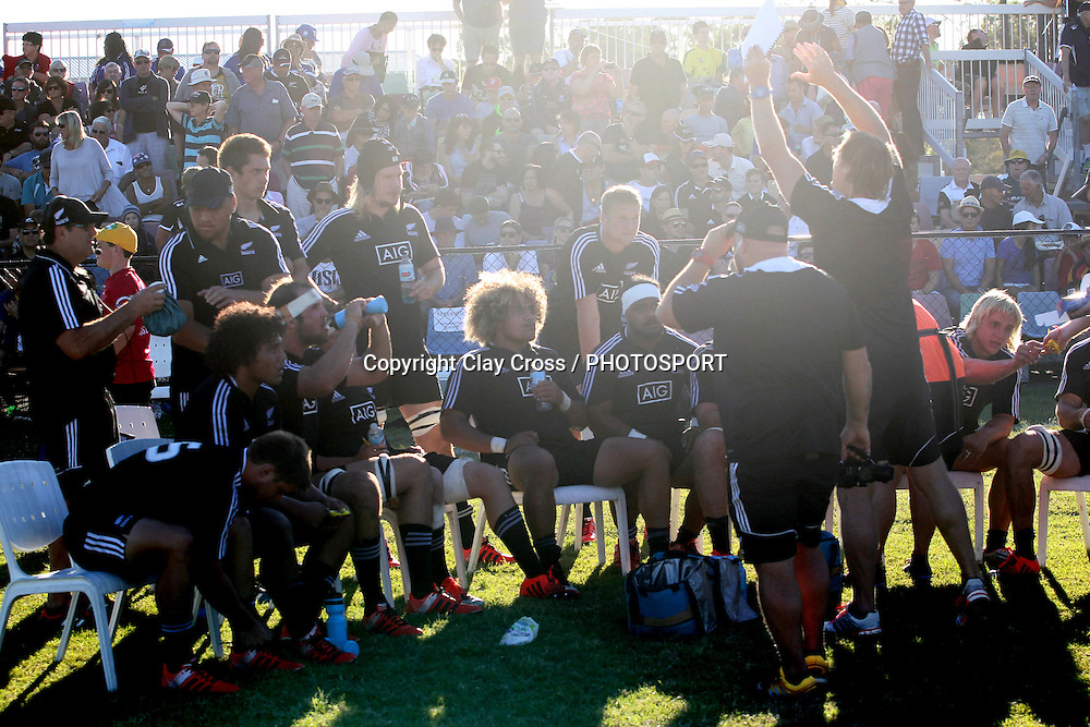 New Zealand half time team talk. Australia v New Zealand Under 20s. 2015 Oceania Rugby Junior Championship. Bond University, Gold Coast Australia. Saturday 9 May 2015. Photo: Clay Cross / photosport.co.nz