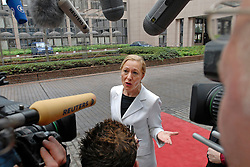 BRUSSELS, BELGIUM - AUGUST-25-2006 - Benita Ferrero-Waldner European Commissioner of External Relations, arrives at the European Council headquarters in Brussels, for an extraordinary meeting of European foreign ministers and the United Nations to discuss European military deployment to Lebanon as part of the cease-fire agreement between Israel and Hezbollah. (PHOTO © JOCK FISTICK)