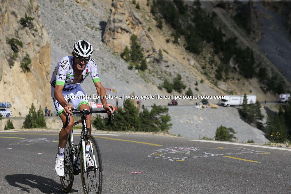 Brice Feillu (FRA) Fortuneo-Oscaro climbs through the Caisse Deserte on Col d'Izoard during Stage 18 of the 104th edition of the Tour de France 2017, running 179.5km from Briancon to the summit of Col d'Izoard, France. 20th July 2017.<br /> Picture: Eoin Clarke | Cyclefile<br /> <br /> All photos usage must carry mandatory copyright credit (&copy; Cyclefile | Eoin Clarke)