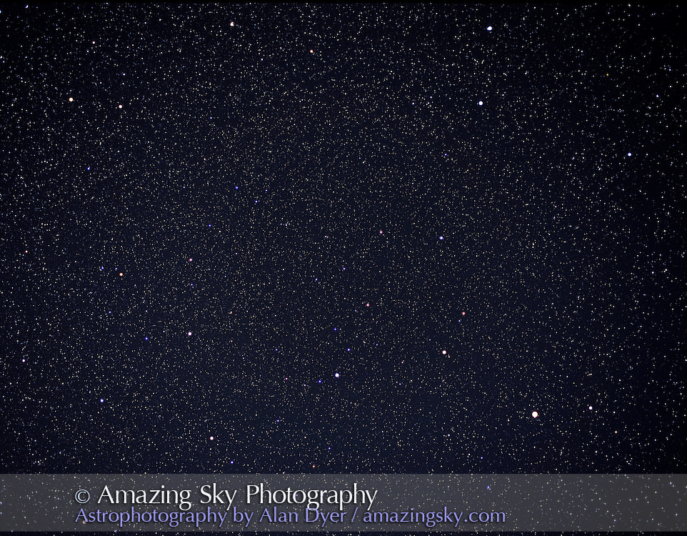 Bootes (and Arcturus, right), Corona Borealis (centre), and Hercules (left), April 2004...Taken with 55mm lens at f/5 on Pentax 6x7 camera with Fujichrome 400F slide film, 120-format, and 25 minute exposure. ..Glow layer added to fuzz bright stars.