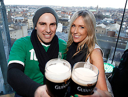 Friday, 15th March 2013: Luke Wright and Anna McCurrach from New Zealand pictured enjoying the St. Patrick's Festival at.the Guinness Storehouse which kicked off today with a host of entertainment on offer. For more.details and festival tickets, log on to www.guinness-storehouse.com or follow them on Twitter.@homeofguinness. Picture Andres Poveda