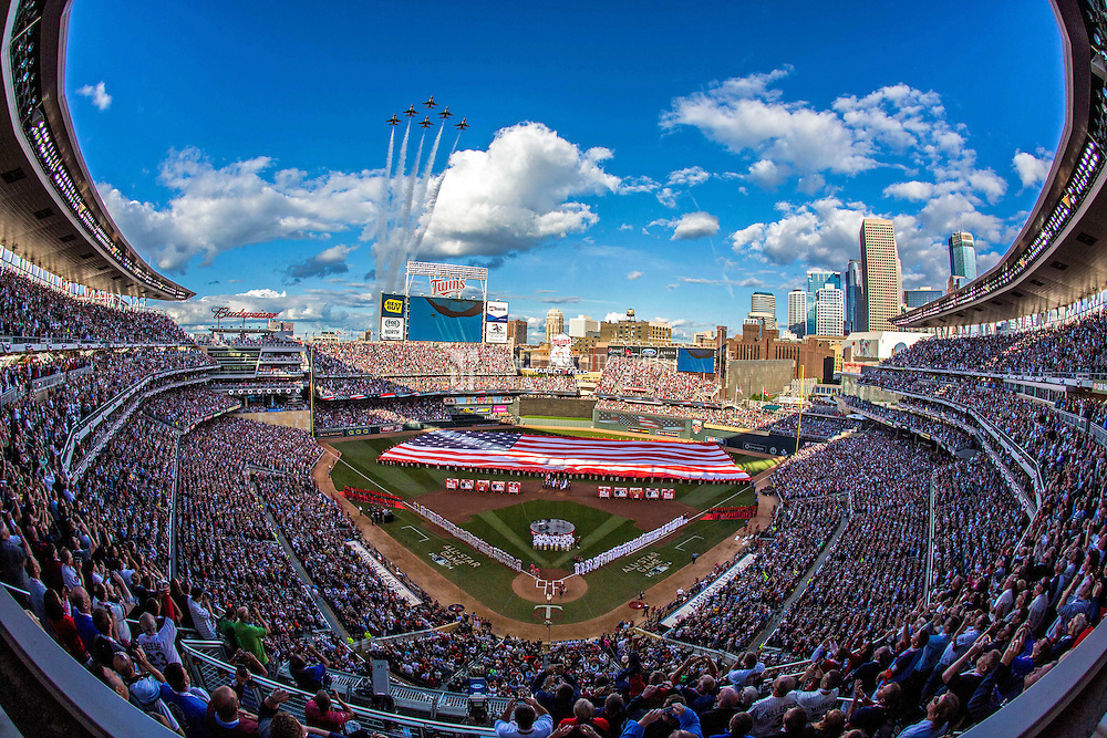 MINNEAPOLIS, MN- JULY 15: A general view of Target Field as the U.S. Air Force Thunderbirds flyover during the 85th MLB All-Star Game at Target Field on July 15, 2014 in Minneapolis, Minnesota. (Photo by Brace Hemmelgarn) *** Local Caption ***