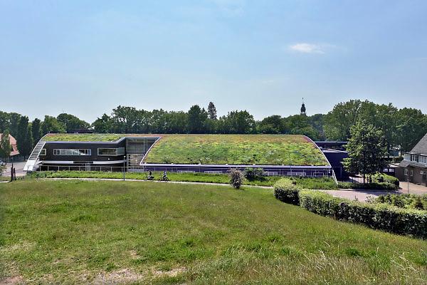 Nederland, Wijchen, 14-5-2018Het duurzame groene sedumdak van de brandweerkazerne. Foto: Flip Franssen