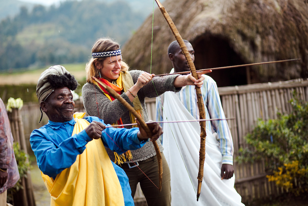Writer Antonia Windsor has a go at archery in the Cultural village