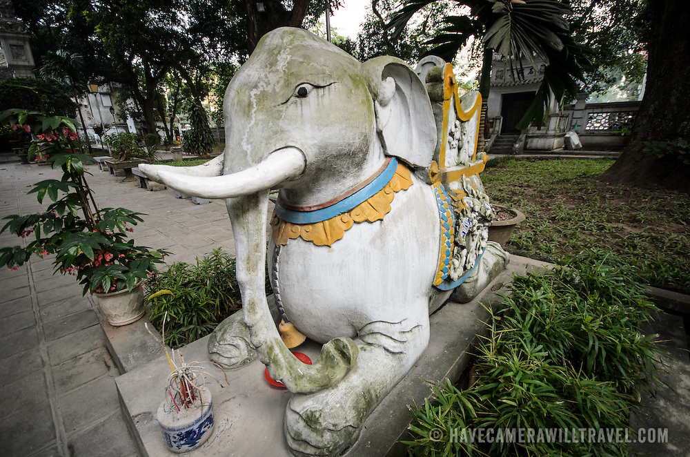 An elephant statue at Quan Thanh Temple in Hanoi. The Taoist temple dates back to the 11th century and is located close to West Lake.