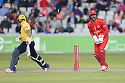 Lancashires Dane Vilas (Captain & Wicket Keeper) stumping of Aaron Thomason of the Birmingham Bears during the Vitality T20 Blast North Group match between Lancashire Lightning and Birmingham Bears at the Emirates, Old Trafford, Manchester, United Kingdom on 10 August 2018.