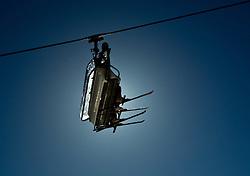 05.03.2011, Maiskogel, Kaprun, AUT, Skilift, im Bild Skifahrer werden im Skigebiet Maiskogel, Kaprun, mit einem sechser Lift ins Skigebiet, zu sehen die Silhouette des Lifts und der Skifahrer, Gegenlicht // silhouette of People ride on a ski lift with the sun on background at a Ski Resort Maiskogel, Kaprun, back light, Salzburg on 05/03/2011, EXPA Pictures © 2011, PhotoCredit: EXPA/ J. Feichter