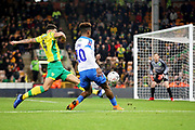 Portsmouth forward Jamal Lowe (10) gets in a cross during the The FA Cup 3rd round match between Norwich City and Portsmouth at Carrow Road, Norwich, England on 5 January 2019.