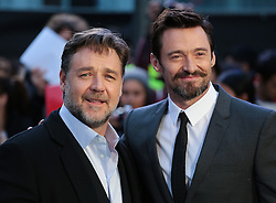 Russell Crowe and  Hugh Jackman (right) arrive for the UK premiere of the film 'Noah', Odeon, London, United Kingdom. Monday, 31st March 2014. Picture by Daniel Leal-Olivas / i-Images