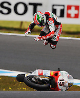 Italian 250cc rider Roberto Locatelli had a spectacular crash at the bottom of Lukey Heights on the Phillip Island race track where the Moto GP was held in October 2009.<br />