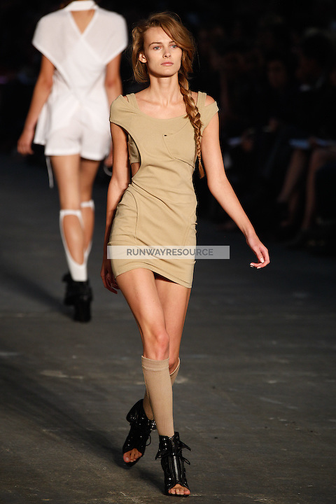 Edita Vilkeviciute walks the runway wearing Alexander Wang Spring 2010 collection during Mercedes-Benz Fashion Week in New York, NY on September 11, 2009